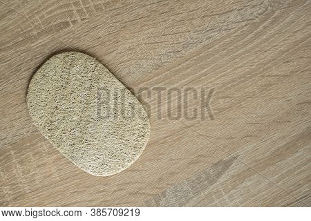 Natural Loofah Kitchen Dish Washing Sponges. Eco Friendly Dishwashing Sponge On A Table, Top View. B