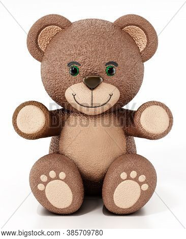 Teddy Bear Isolated On White Background. 3d Illustration.