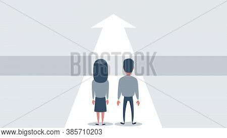 Business Challenge And Solution Vector Concept With Business People Standing Over Big Gap. Symbol Of