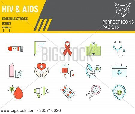 Hiv And Aids Color Line Icon Set, Healthcare Collection, Vector Sketches, Logo Illustrations, Hiv Ic