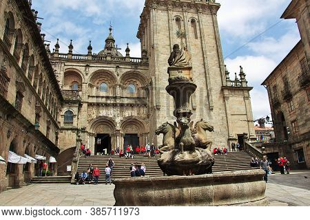 Santiago De Compostela / Spain - 13 May 2015: Cathedral De Santiago De Compostela, Spain