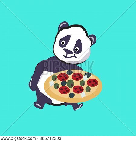 Panda With Pizza. Illustration, Vector. Panda. Black And White Bear. Vector. Illustration.