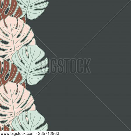 Vector Pattern With Monstera Leaves In Art Deco Style. Blue, Pink And Brown Leaves On A Dark Backgro