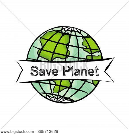 Planet Earth Wrapped In White Ribbon With Text.the Slogan Is For Those Who Care About The Future Of
