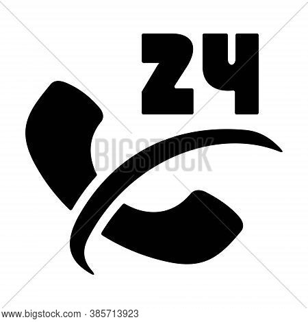 24/7 Phone Support Icon. 24 Hours Open Call Service. Non-stop Customer Support, Service, Help Symbol
