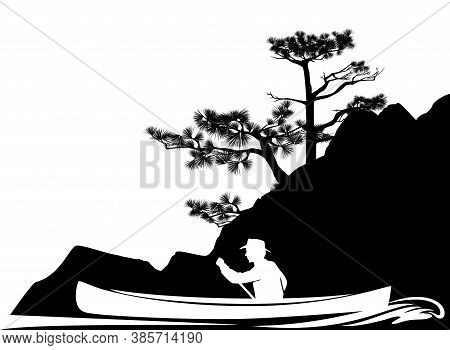 Man Rowing In Canoe Boat Along River Bank With Pine Trees - Adventure Exploration In The Wilderness