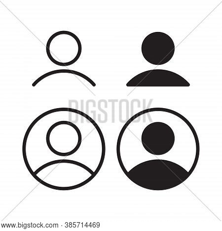 User Profile Icon Vector. Avatar Portrait Symbol. Flat Shape Person And Account Sign Logo. Black Sil