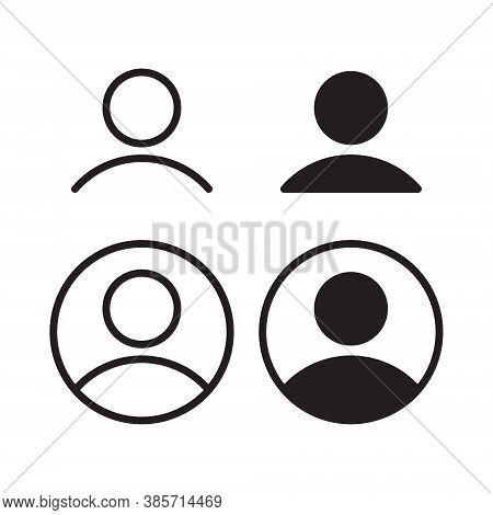 User Profile Icon Vector. Avatar Portrait Symbol. Flat Shape Person And Account Sign Logo. Black Sil