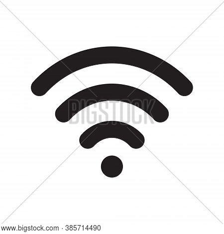 Wi-fi Icon. Wifi Symbol. Wireless Internet Connection Sign. Simple Flat Shape Logo. Black Silhouette