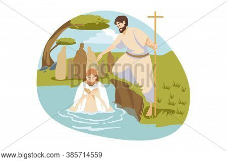 Christianity, Religion, Bible Concept. Baptism Blessing Of Jesus Christ Son Of God Messiah Prophet I