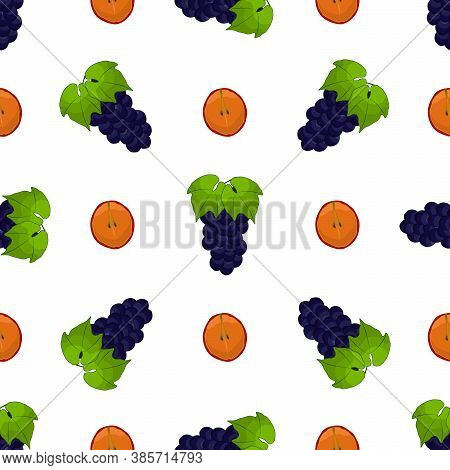Illustration On Theme Big Colored Seamless Grape, Bright Berry Pattern For Seal. Berry Pattern Consi