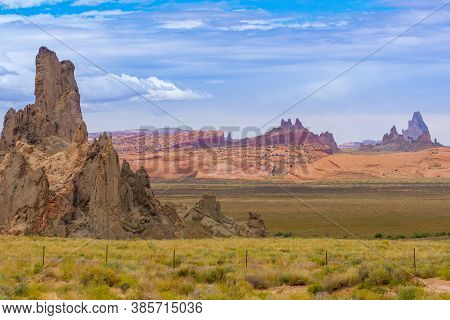 Utah Monument Valley Rock Landforms Jut In Sharp Relief Out Of The Surrounding Land Usa.