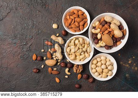 White Bowls With Nuts Mix As Snack Or Ingredient For Tasty Dessert, Meal