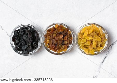 Glass Bowls With Various Raisins As Ingredient For Tasty Dessert