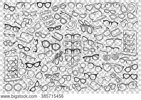 Spectacles Doodle Set. Colection Of Hand Drawn Sketches Templates Patterns Of Optician Objects Sungl