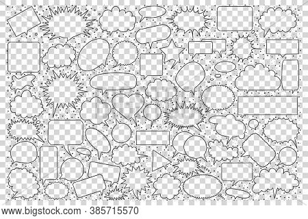 Speech Bubble Doodle Set. Collection Of Hand Drawn Sketches Templates Pattern Of Cloud Form Object D