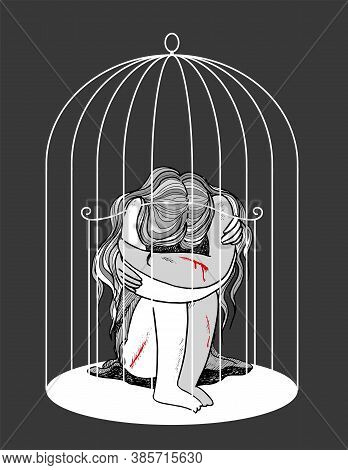 Self-harming Young Woman Locked In A Birdcage, Concept Vector Illustration