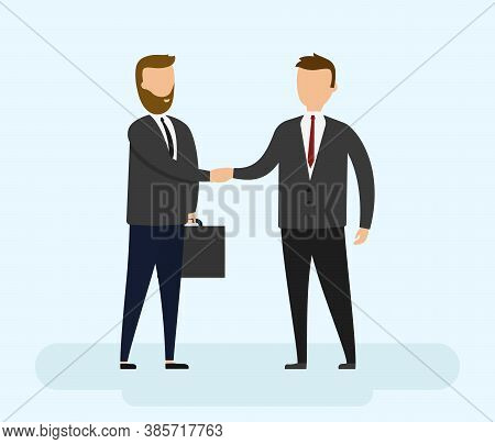 Collaboration, Negotiations, Business, Partnership Concept. Business Partners In Suits Shake Hands A