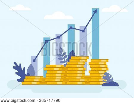 Concept Of Financial Business Plan, Revenue Growth Infographic. Increasing Stacks Of Money With Arro