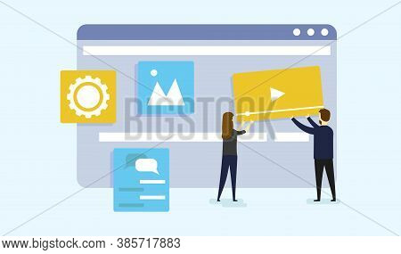 Website Construction, Digital Creative Industry, Web Design And Development Concept. Site Under Cons