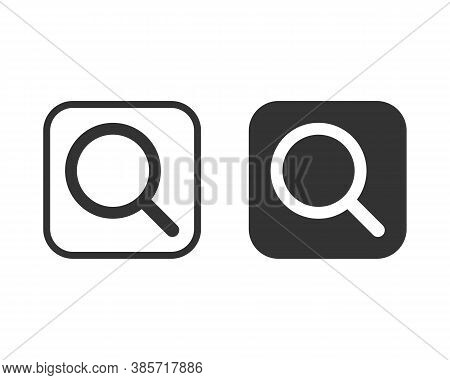 Magnifying Glass Icon. Search And Zoom Symbol. Magnify Sign. Magnifier Logo. Web Application And Int