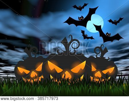 Halloween Pumpkin Faces On The Grass Next To Bats By Night With Full Moon - 3d Render