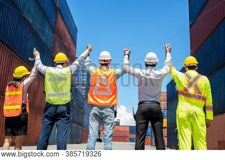 Engineer And Worker Team Working At Container Yard Port Of Import And Export,business Teamwork Conce