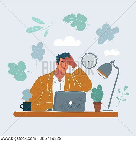 Vector Illustration Of Man In Office With Problems. Hold His Head By His Hand.