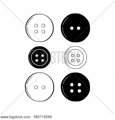 Set Of Buttons. Hand Drawn Style, Outline. Vector Illustration Isolated On A White Background.