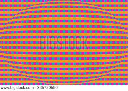 Illustration Abstract Hypnotics Psychadelic Multi Colored Orange Magenta Blue Small Checkered Textur