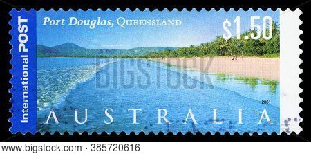 Australia - Circa 2001: A Stamp Printed In Australia Shows Port Douglas, Queensland, 2001