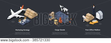 Airlines Marketing Strategy, Cargo Goods Transportation, Post Office Mailbox Rent Concept. Innovate