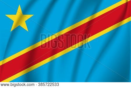 3d Waving Flag Of The Democratic Republic Of The Congo. Eps 10