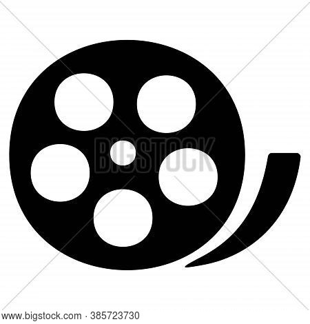 Film Reel Icon. Camera Reel. Cinema, Movie, Multimedia Signs. Concept Of Filmmaking, Documentary, Ph