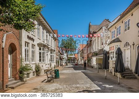 Picturesque Street With Danish Flags In Tonder, Denmark, June 1, 2020
