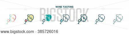 Wine Tasting Icon Designed In Gradient, Filled, Two Color, Thin Line And Outline Style. Vector Illus