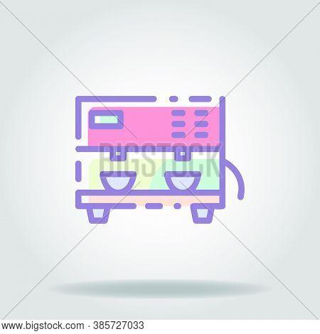 Espresso Machine Icon Or Logo In  Pastel Color