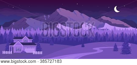 Nighttime Mountains Flat Color Vector Illustration. Night In Countryside. Residence Near Forest. Cot