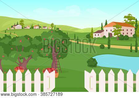 Farmland Flat Color Vector Illustration. Apple Tree Harvest. Summer Crop. Residence On Hills. Countr