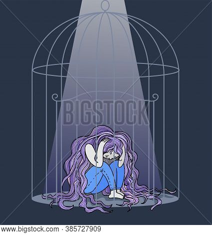 Depressed Young Woman With Very Long Hair Locked In A Birdcage, Concept Vector Illustration