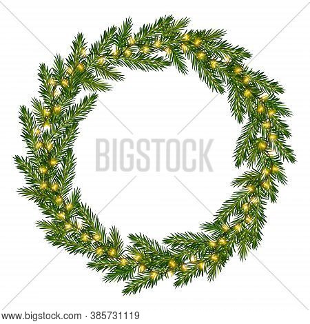 Wreath Of Fir Tree Branches With Luminous Garland. Christmas Frame With Glowing Lights For Greeting