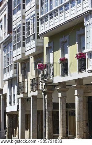 Traditional Stone Columns And Facades In Chantada. Galicia, Spain