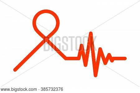 Awareness Ribbon With Heartbeat Symbol. Vector Illustration. Medical Concept Icon. Heartbeat Icon