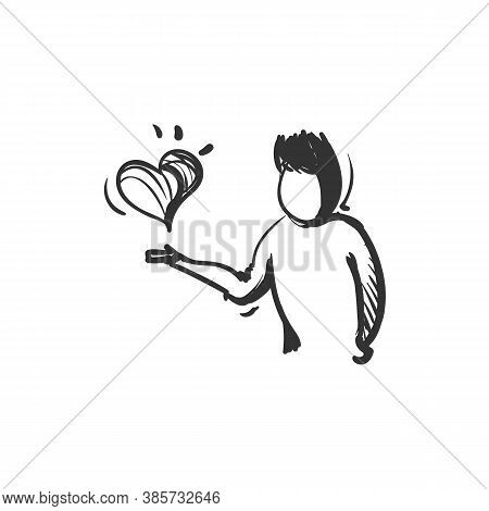 Virtue Line Icon. Person Holding Hand For Heart. Outline Drawing. Ethically Good And Honorable Trait