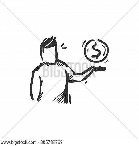 Generosity Line Icon. Person Holding Dollar Coin On Hand. Outline Drawing. Give Money Time And Resou
