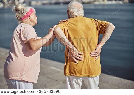 Senior Caucasian Man Suffering From Lumbar Neuralgia