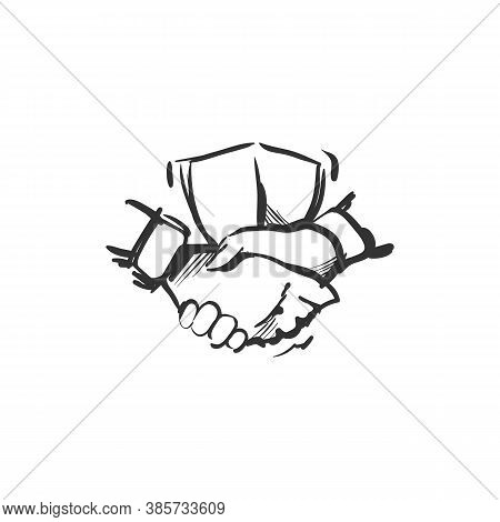 Trust Line Icon.two Hands Shaking With Shield On Background. Reliable Partnership. Outline Drawing.