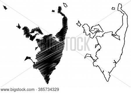 Serra City (federative Republic Of Brazil, Espirito Santo State) Map Vector Illustration, Scribble S