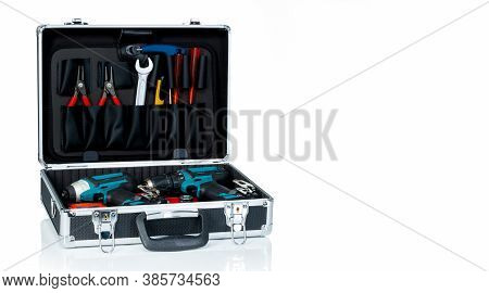 Toolbox Isolated On White Background. Black Toolbox With Tools. Pliers, Spanner Or Wrench, Screwdriv