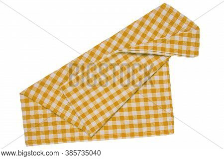 Towels Isolated. Close-up Of Yellow And White Checkered Napkin Or Picnic Tablecloth Texture Isolated